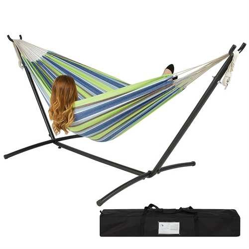 Portable Blue Green Stripe Cotton Hammock with Metal Stand and Carry Case Q280-BJDCIEC59571
