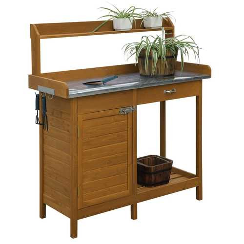 Outdoor Home Garden Potting Bench with Metal Table Top and Storage Cabinet Q280-CDPB144953