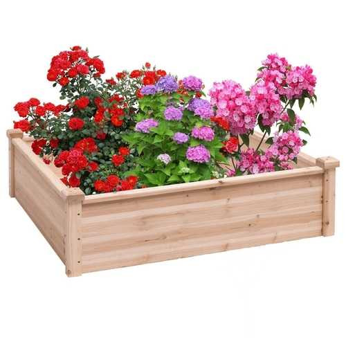 Solid Fir Wood 3.3 ft x 3.3 ft Raised Garden Bed Planter Box Q280-FCYIL1868271