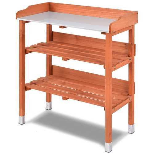 Outdoor Garden Wood Potting Bench Storage Shelf with Metal Top Q280-GWPBWS56951501
