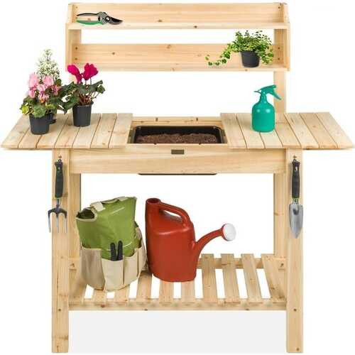 Outdoor Garden Wood Potting Bench Expandable Top with Food Grade Plastic Sink Q280-HCYEPB4283971
