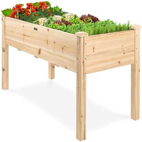 Farmhouse Wood 48x24x30in Raised Garden Bed Elevated Garden Planter Stand Q280-JFBFD2818