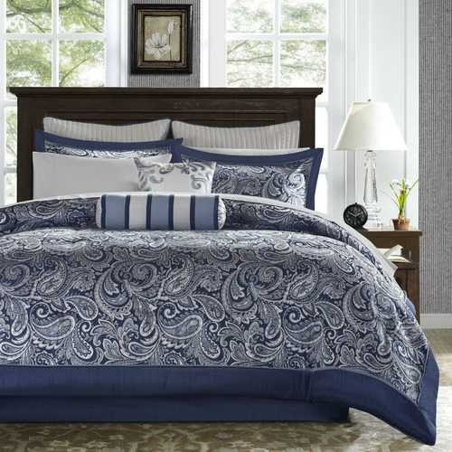 California King 12-piece Reversible Cotton Comforter Set in Navy Blue and White
