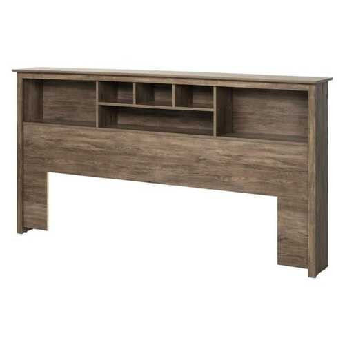 King size Bookcase Headboard in Drifted Gray Wood Finish