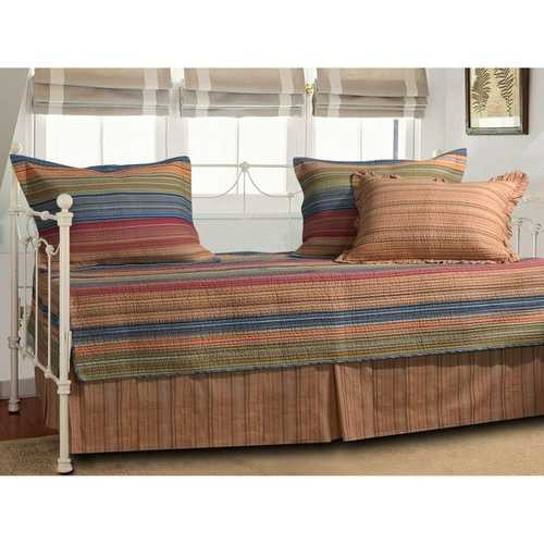 Reversible 5-Piece Daybed Bedding Set with Bed-skirt and Three Pillow Shams