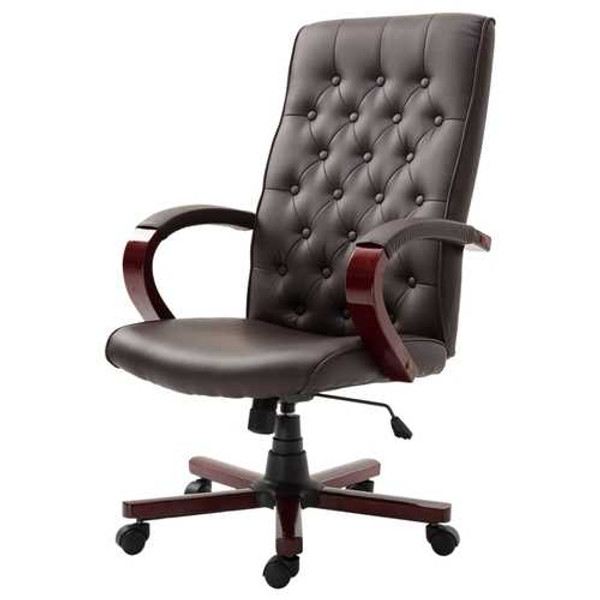 Brown Wooden Faux Leather Adjustable High Back Executive Home Office Chair