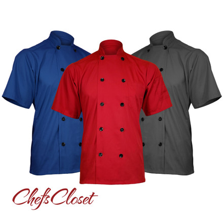 ChefsCloset Poplin Short Sleeve 10 Button Chef Coat
