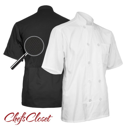 ChefsCloset Short Sleeve 10 Button Chef Coat with Mesh Back