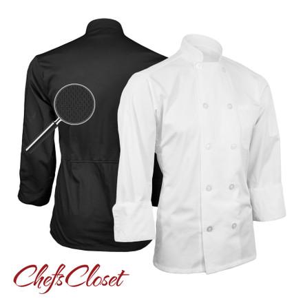 Poplin Long Sleeve Mesh Back Chef Coat