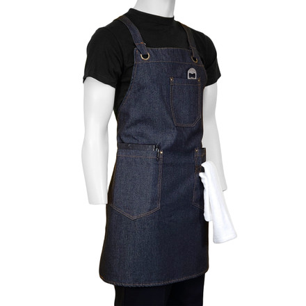 ChefsCloset Denim Allentown Cross Back Bib Apron, 3 Pockets