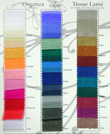 Sparkle Organza Tissue Lamè Swatch Card