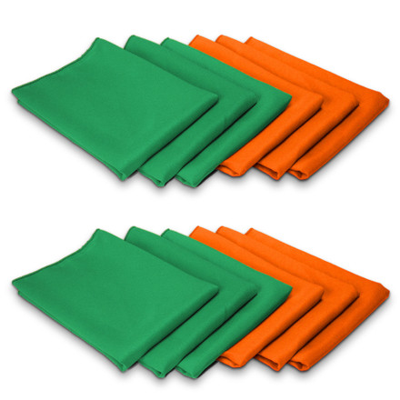 12 pack Emerald Green Orange SimplyPoly St Patricks Cloth Napkin Set