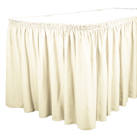 Ivory 17 ft. SimplyPoly Shirred Pleat Table Skirting