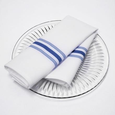 White/Blue Stripes Bistro Napkins - Spun Polyester