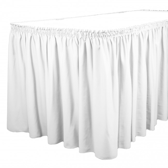 In 13+ Colors SimplyPoly Shirred Pleat Polyester Table Skirting 13 ft