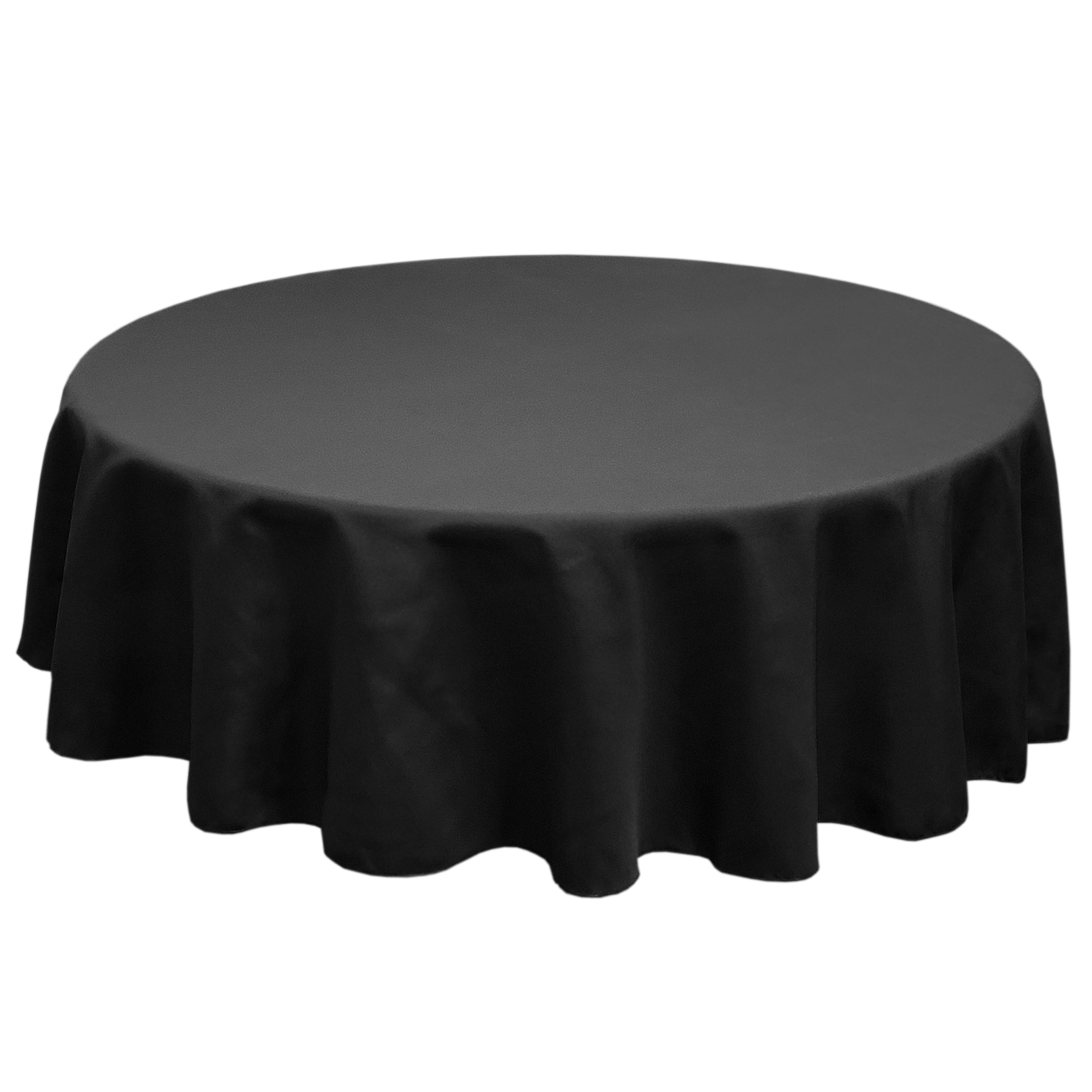 Black 132 in.  Round SimplyPoly Tablecloths