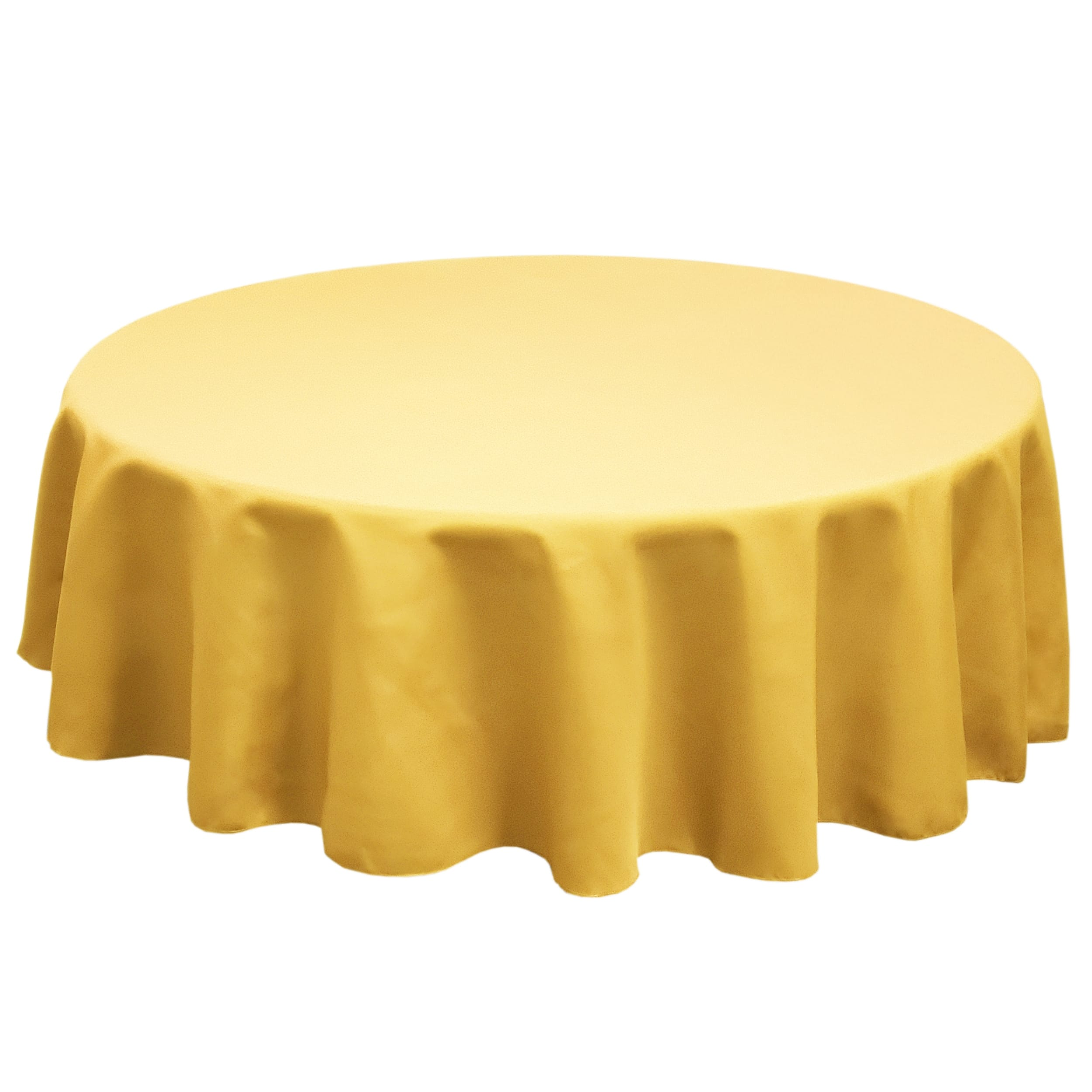 Dark Lemon 126 in.  Round SimplyPoly Tablecloths