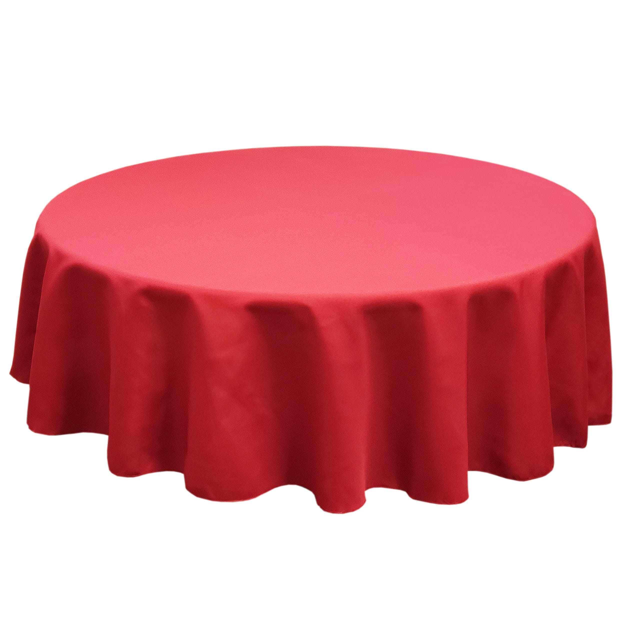Holiday Red 132 in.  Round SimplyPoly Tablecloths