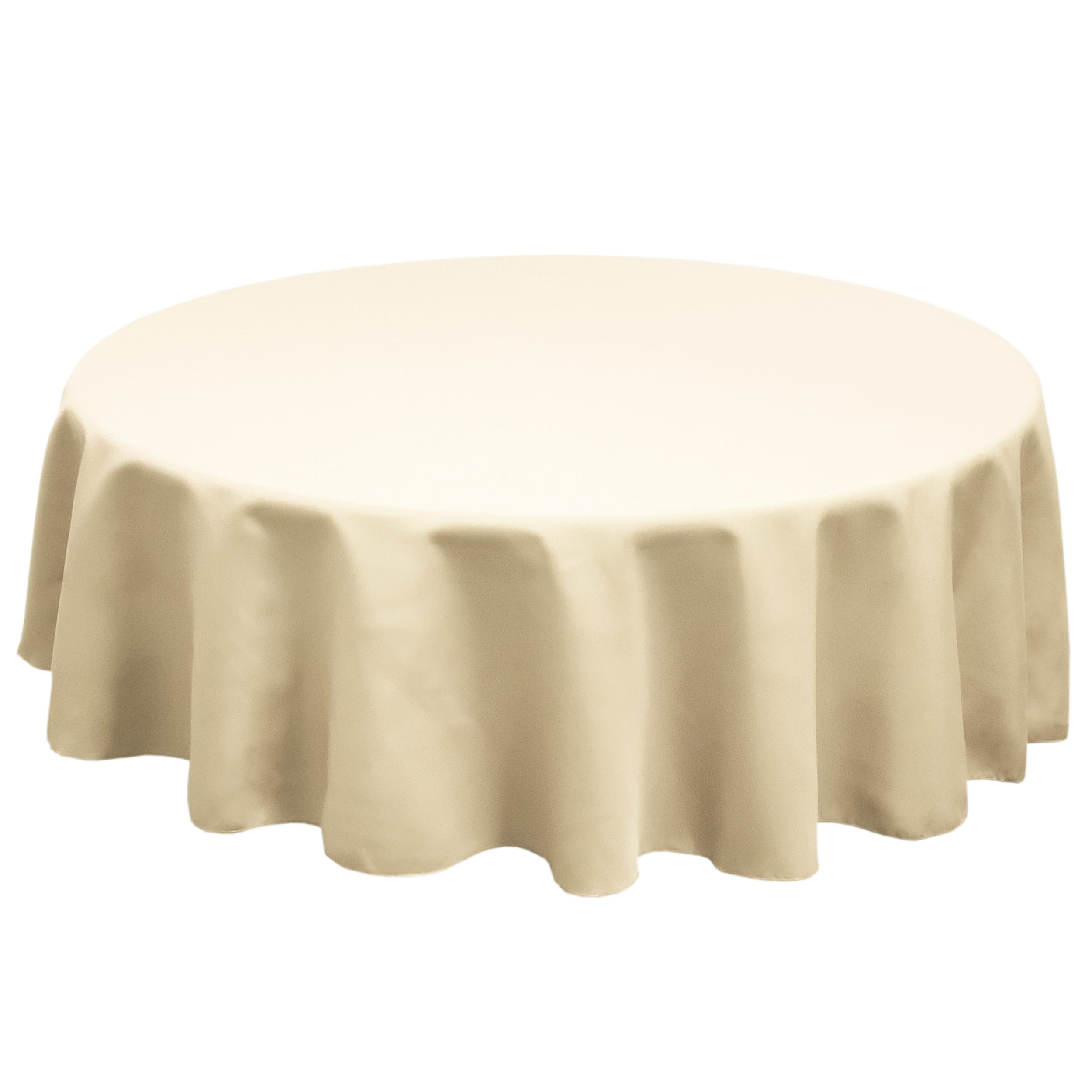 Sand 126 in.  Round SimplyPoly Tablecloths