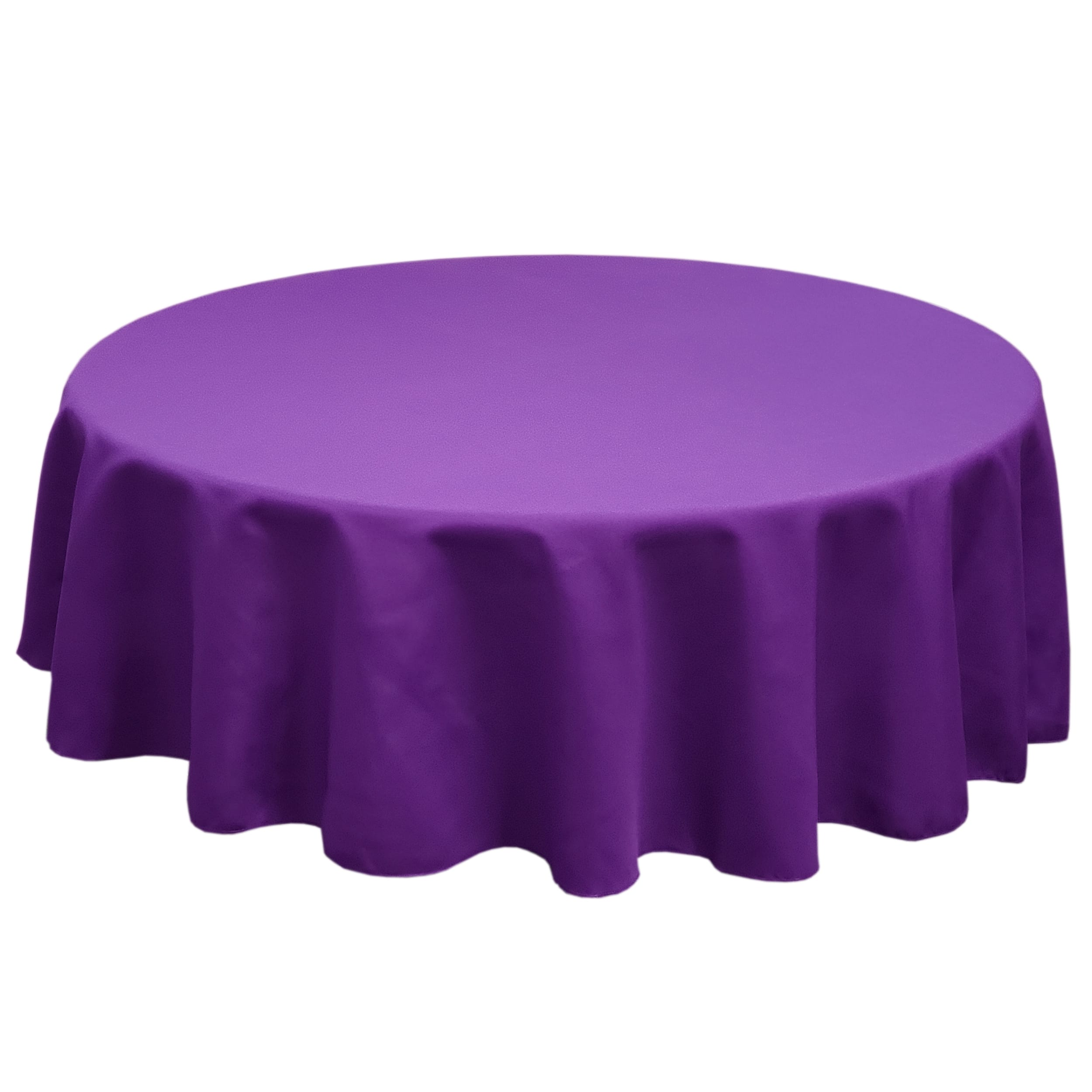 Purple 132 in.  Round SimplyPoly Tablecloths