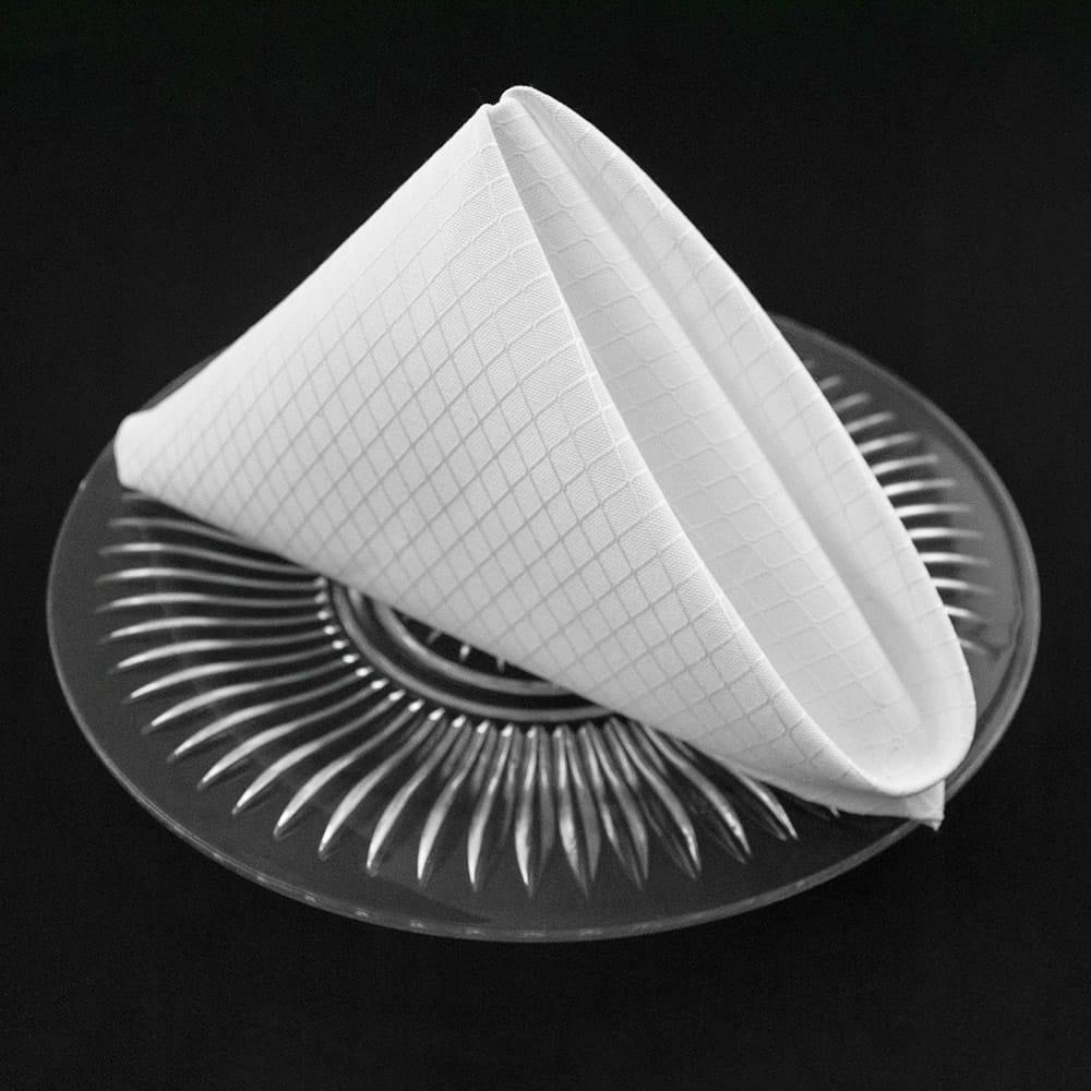 White Diamond Weave Pattern Dinner Napkins