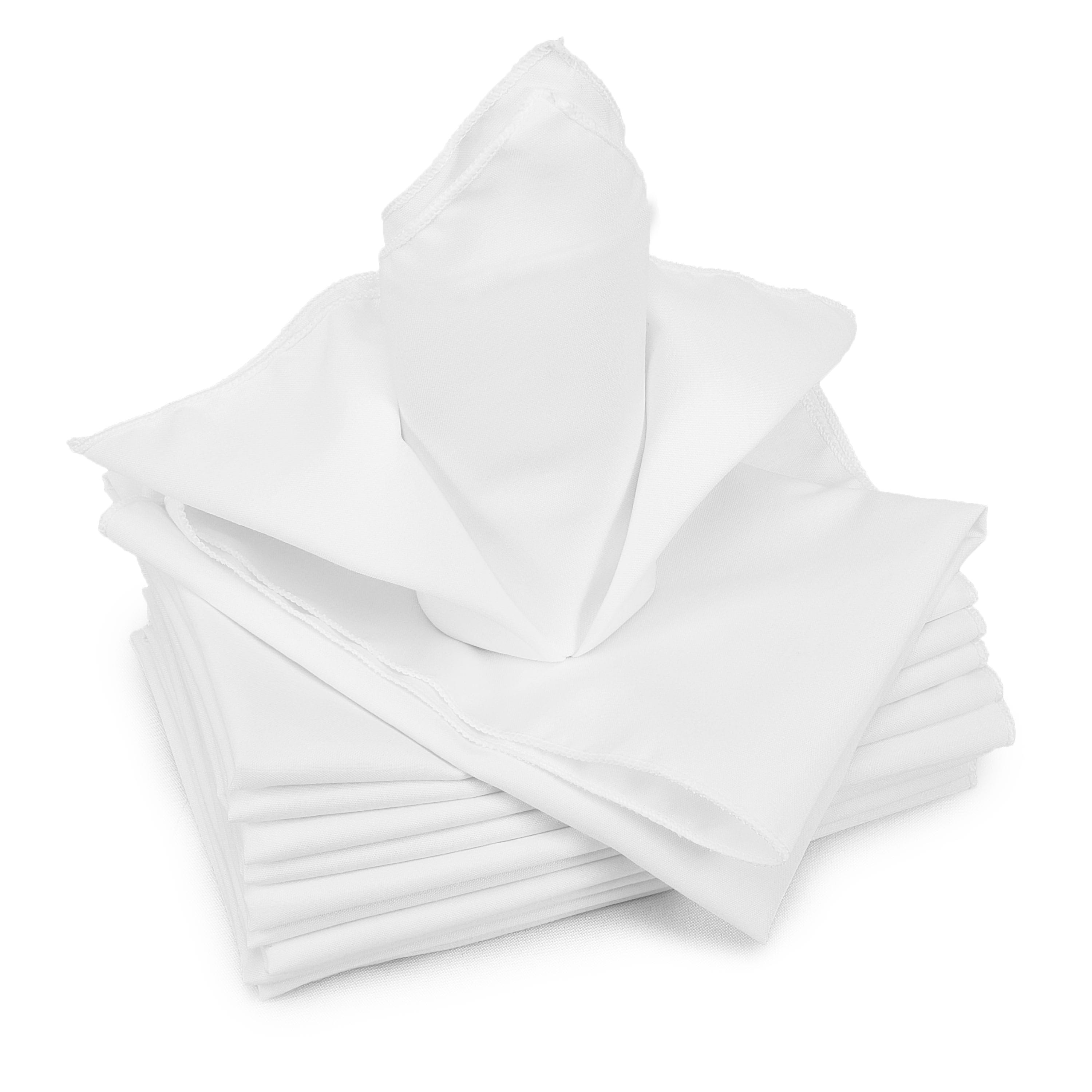 White Oversized 20 in. Square Serged Polyester Cloth Napkins