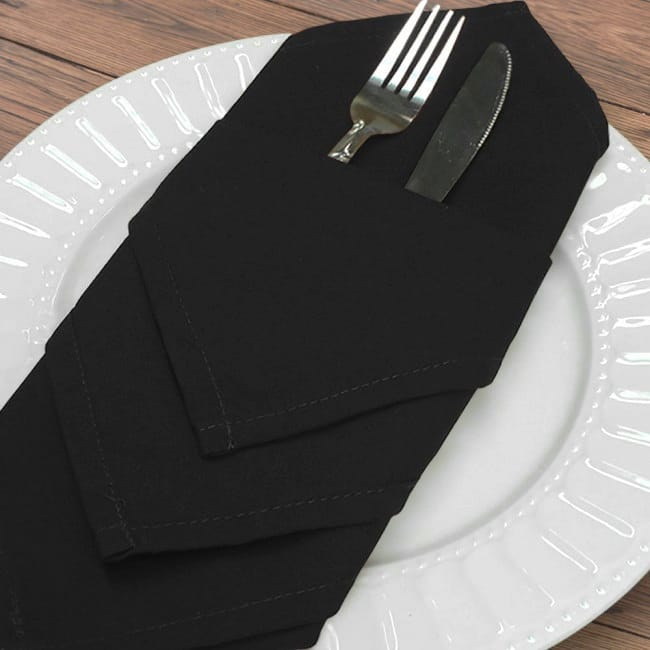 Black 20 in. Infinity Cloth Napkins