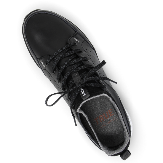 Black TRUE Outsider full shoe top down laces tied