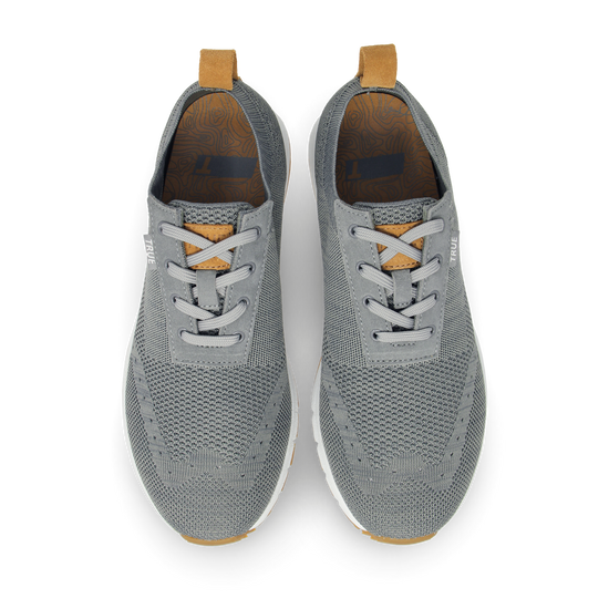 Stone grey TRUE Knit dual full shoe pair top view