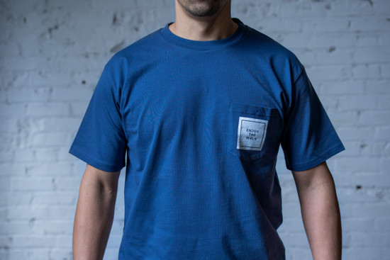 Enjoy the Walk Pocket Tee - Petrol Blue