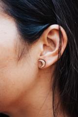 simple moon wood earrings