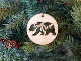 san diego bear handmade wood ornament