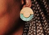 large tassel stud earrings