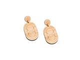 Art Deco Drop Earrings, Geometric Drop Earrings Modern geometric Earrings, graphic statement Earrings, bamboo earrings, handmade in san diego, zero waste jewelry, sustainable fashion