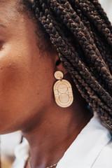 Art Deco Minimalist wood Earrings, Art deco inspired drop earrings,