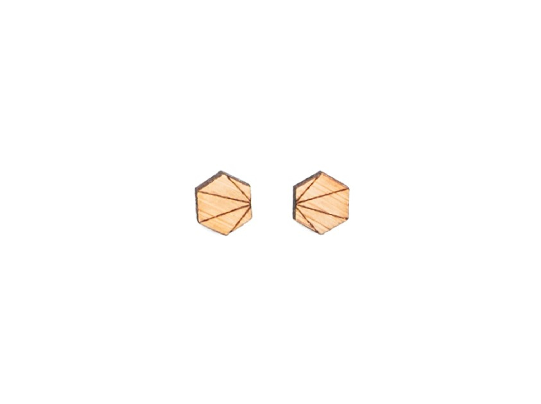 hexagon wood mens earrings