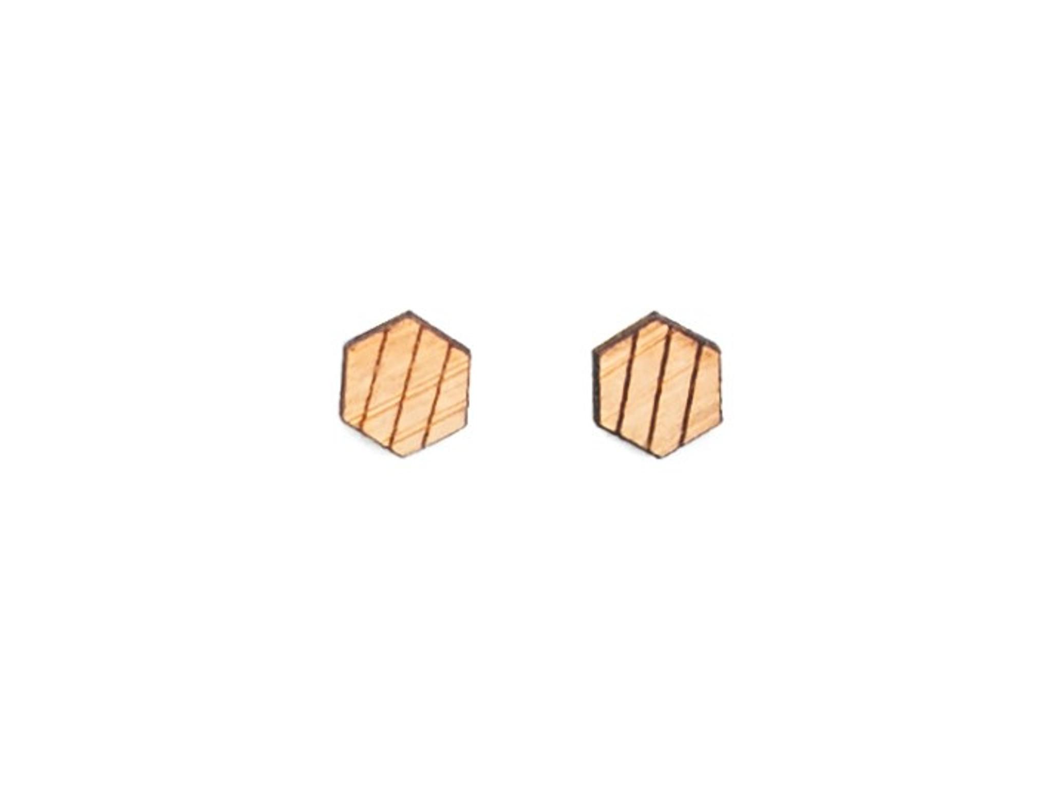 hexagon geometric laser cut wood mens earrings