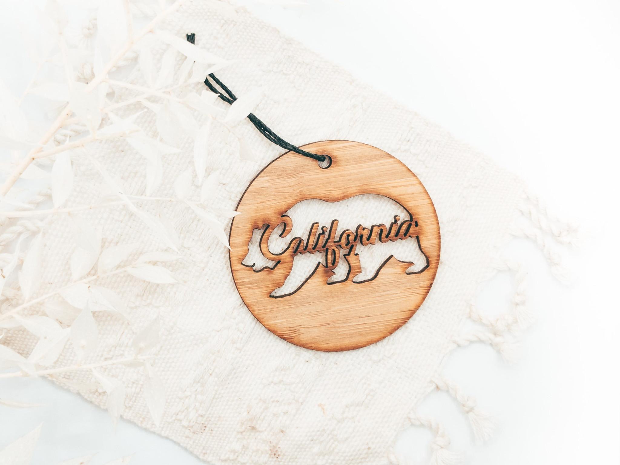 minimalist california bear ornament