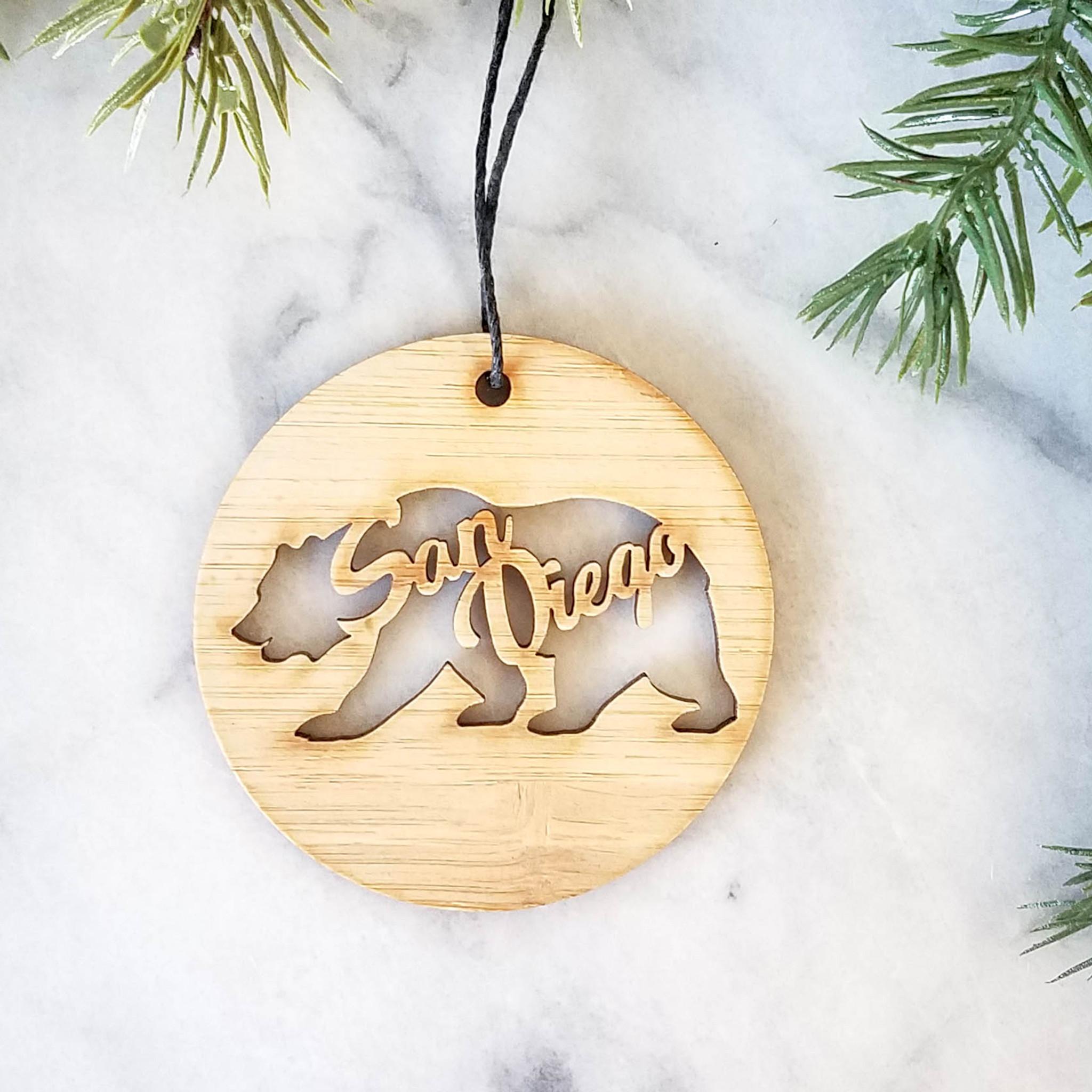 san diego california bear handmade wood ornament