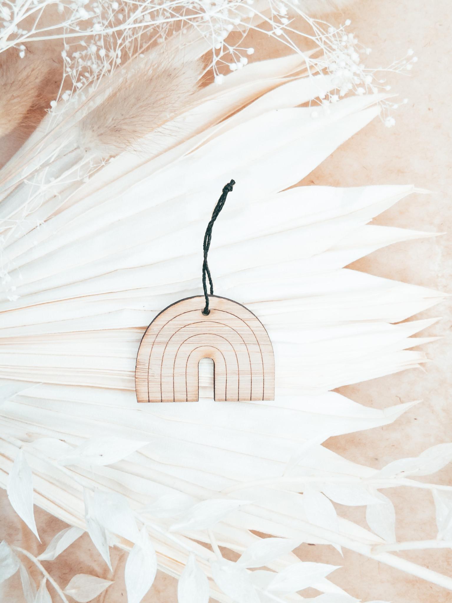 Rainbow minimalist wood ornament