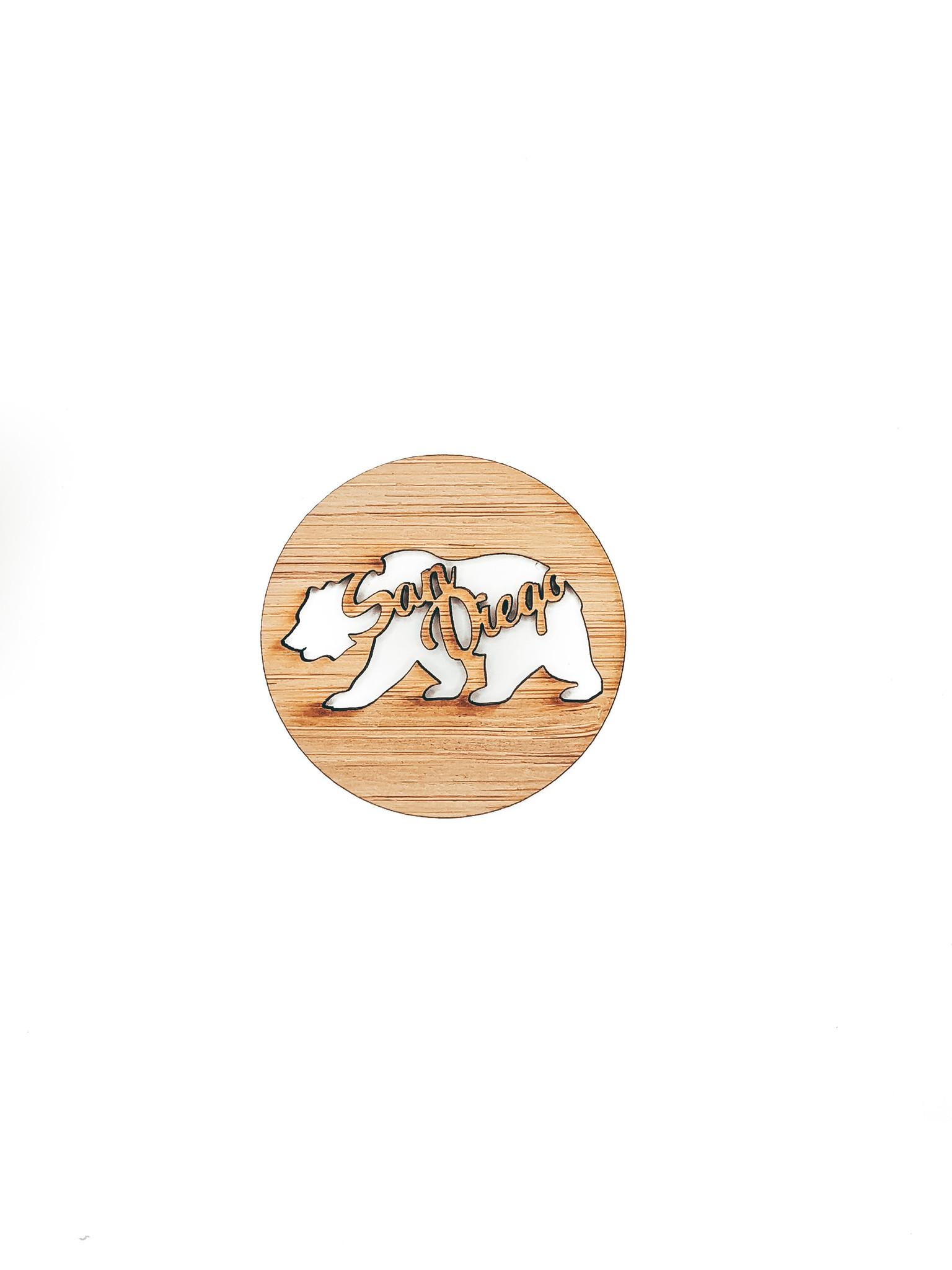 san diego california bear magnet, handmade in san diego, women owned
