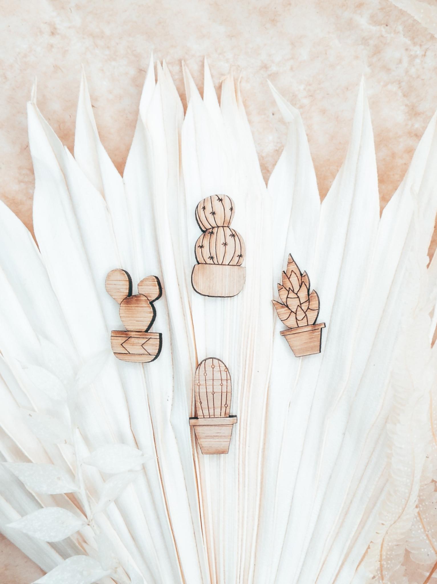 laser cut bamboo cactus pin