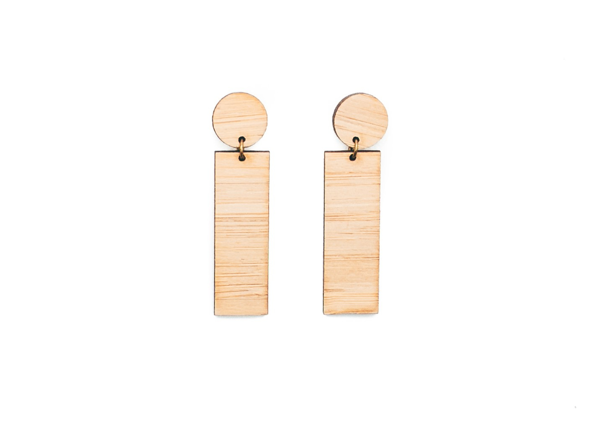 Wood Straight Earrings, simple dangle earrings,