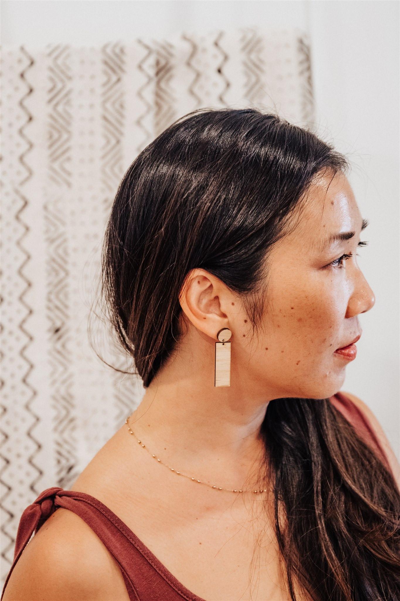 wood vertical bar handmade earrings