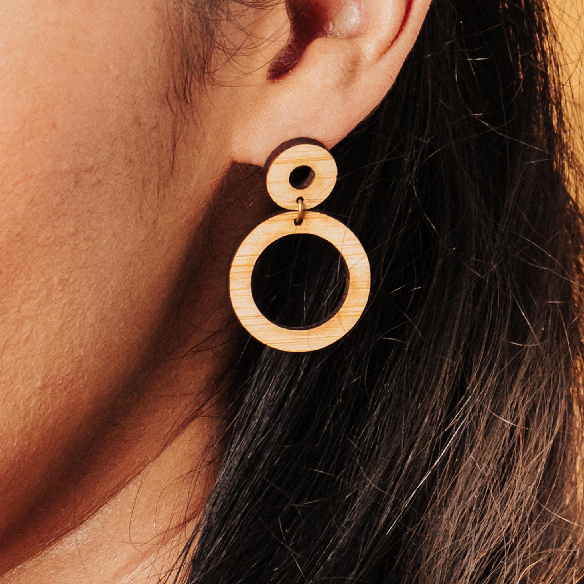 simple wood circle earrings, natural wood circle earrings handmade wild cloud