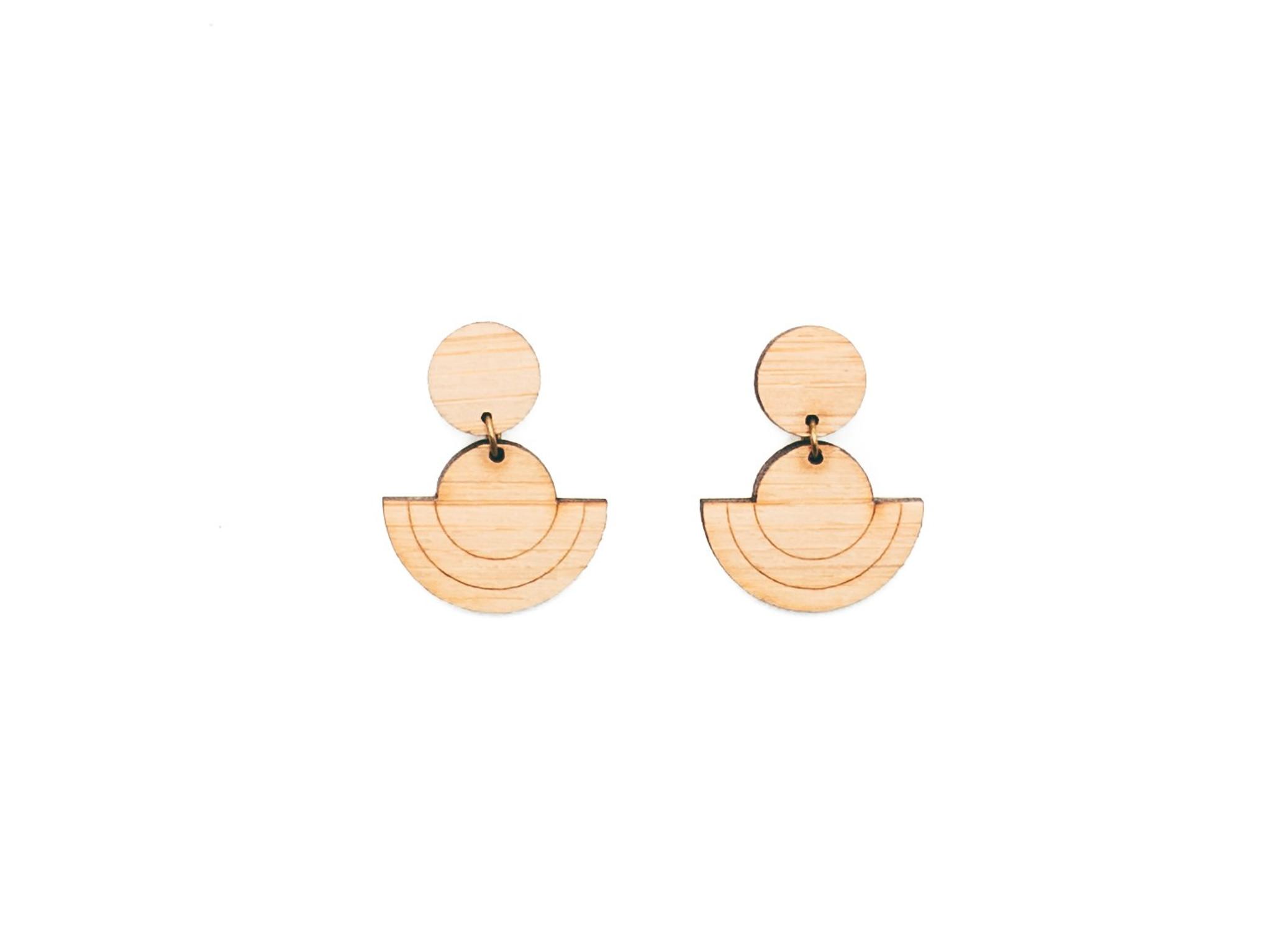 natural wood drop earrings