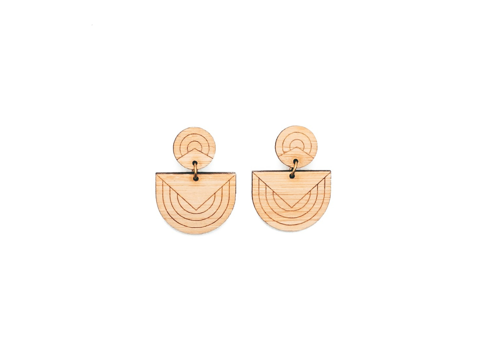 unique graphic Geometric Drop Earrings, abstract wood studs