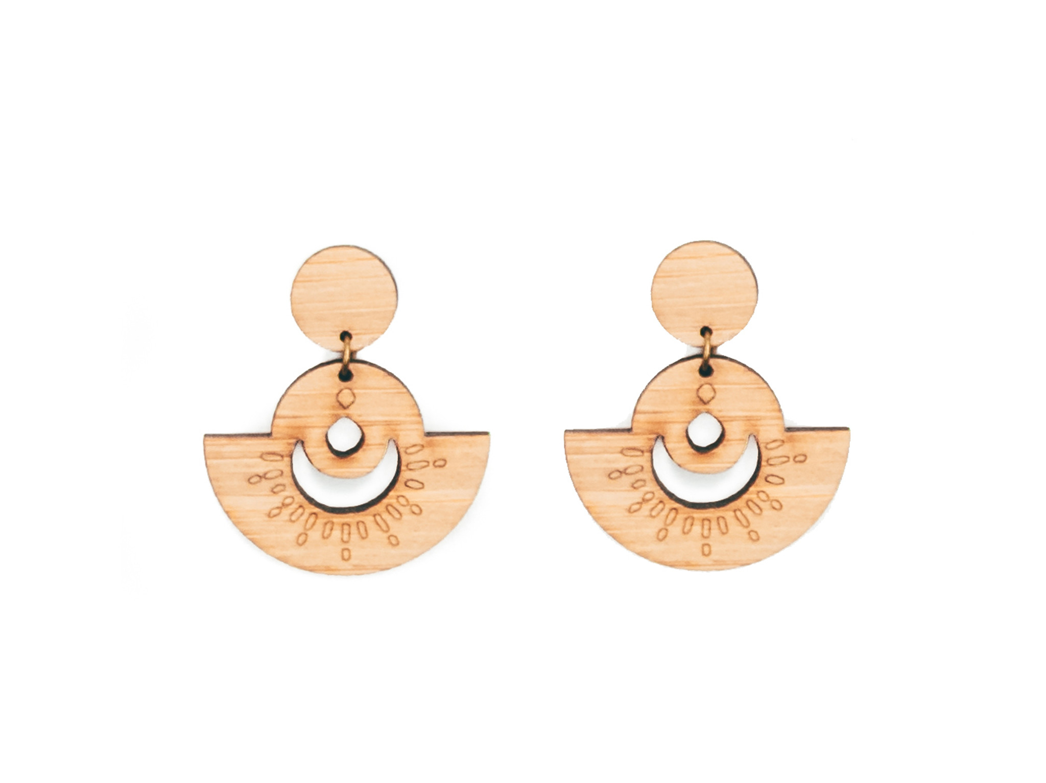 moon and sun natural wood drop earrings