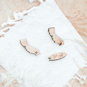 california state wood pin - san diego surf pin