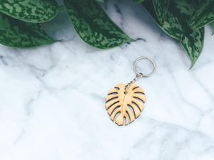 monstera minimalist  wood keychain